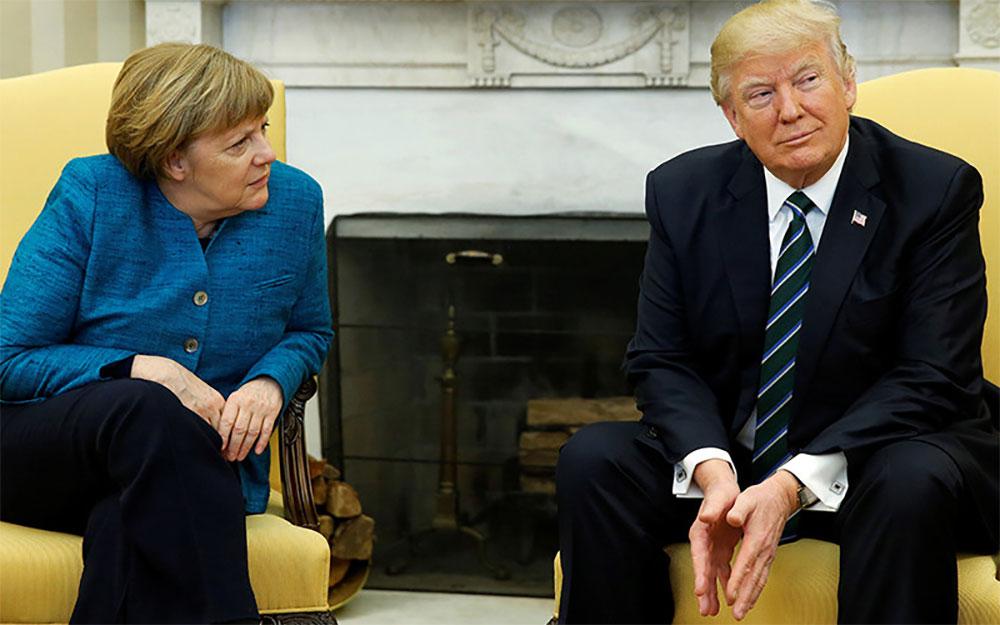Меркель  и Трамп. Вашингтон. Переговоры